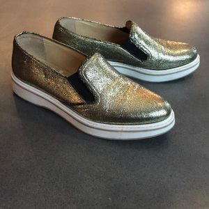 Boemos metallic gold leather loafers